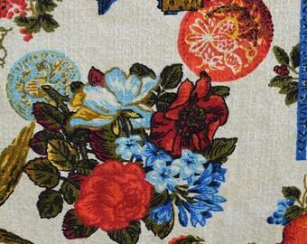Vintage 70s Patriotic & Floral Print Barkcloth Fabric 4 Yards