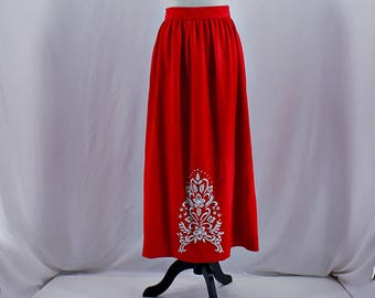 Vintage 60s 70s  red high waist floral beaded maxi skirt // Size XS / S