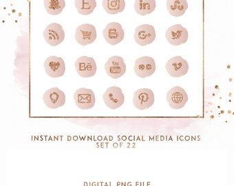 Rose Gold and Blush Watercolor Instant Download Social Media Icons, ( ICON1 )