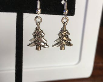 Silver Christmas tree holiday earrings