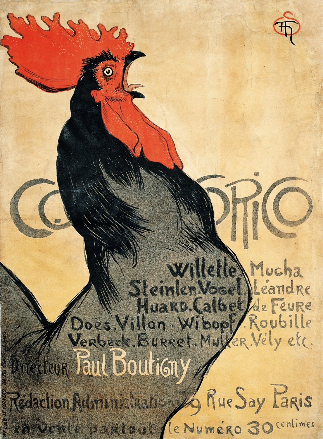 Cocorico by Théophile-Alexandre Steinlen Home Decor Wall Decor ...
