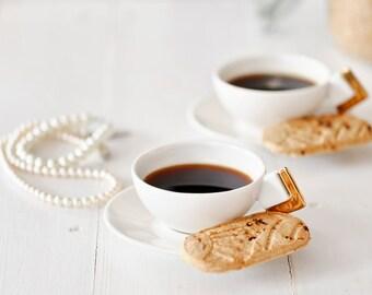 Ceramic Espresso Cups, Porcelain, White, Gold, Handmade Espresso Cups with Saucers