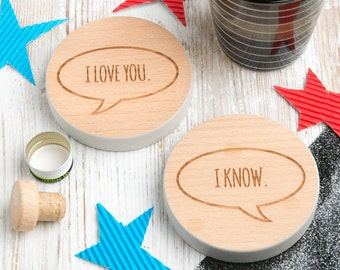"""Star Wars Gift for Him for Boyfriend for her - Han Solo and Princess Leia """"I Love You""""...""""I Know"""" Star Wars Quote Coasters"""