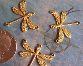 4 PC Brass Art Deco Dragonfly Jewelry Finding / Wrap - F0125