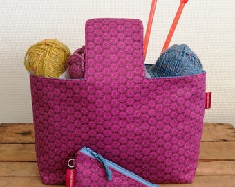 """Set of project bag """"Pink-blue"""" and scissor case (with scissors), lined and interfaced, Leukgemaakt, knitting crochet, gift for women"""