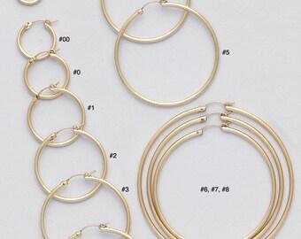 2 mm Gold Filled Endless Hoop Earrings/ PLAIN/ Gold Filled Hoop/ LATCH BACK Closure/ Infinity Hoops/ Selling by One pair