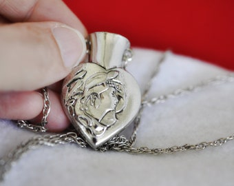 Silver Plated Tussie Mussie Pendant Necklace, Victorian Lady Necklace, Silver Necklace, Art Nouveau Style Necklace, Vintage Necklace 18-327