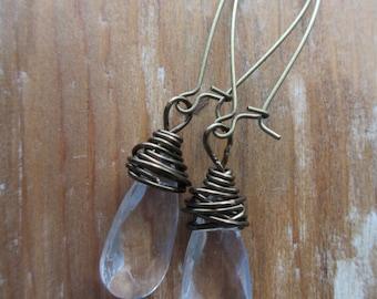 Messy Wire Wrap Earrings - Clear Crystal Tear Drop - Vintage Modern - Antique Bronze - Everyday Earrings  - Brass Bird Jewelry