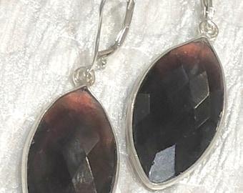 Faceted Amethyst Teardrop Bezel Set Earrings with sterling silver lever back ear wires , Purple earrings , Amethyst Earrings (E130)
