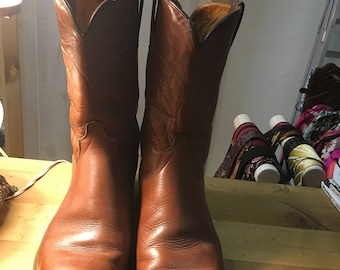 wrangler brown leather roper boots with leather sole size 9 1/2D