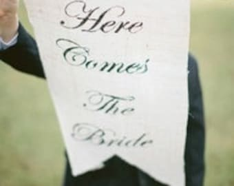 Here Comes The Bride banner as seen in Style Me Pretty