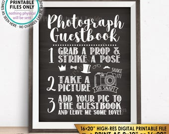"""Photograph Guestbook Sign, Add Your Picture to My Guest Book Sign, Photo Guestbook, Chalkboard Style PRINTABLE 8x10/16x20"""" Instant Download"""