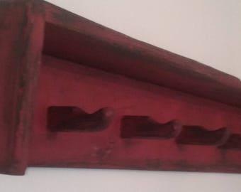 Rustic shelf with  pegs / distressed / handmade wood shelf