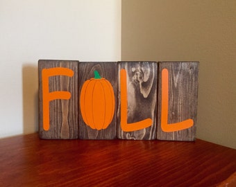 Fall Pumpkin Wood Block Stacker Letter Set Halloween Autumn Home Decor Gift Idea