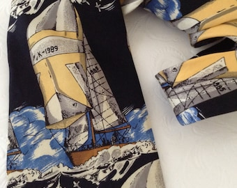 Men's Neckties - Stafford Silk Necktie - Nautical - Sailing - business casual - Gentleman Classy - yachting necktie - sailing