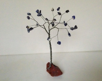 Sodalite and Red Jasper gemstone tree. Blue, red and silver wire tree of life sculpture. T109