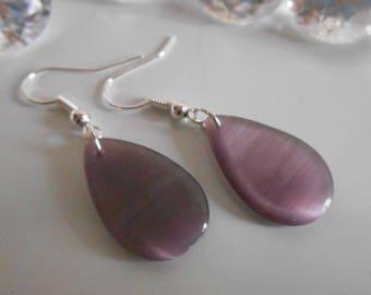 Plum purple bean drop earrings