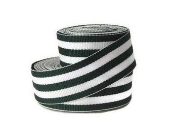 "Black and White 7/8"" Striped Grosgrain Ribbon by the Yard, Black White Taffy Stripe, Black Striped Ribbon, Hair Bow Supplies, Preppy Ribbon"