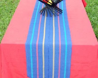 Colorful handcrafted table runner with woven tassels