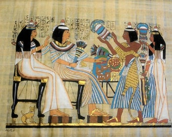 Vintage Egyptian Hand Painted Papyrus of The Flower Girls, Daily Life of Ancient Egypt, 17 x 13 inch