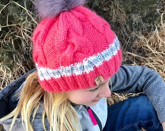 Coral Pink Youth Knit Braided Cable Hat with Fur Pom