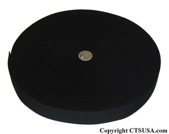 """1"""" Black Ribbed Non-Roll Elastic Roll 36 YDS"""