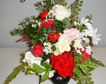Lady Bug Floral Centerpiece, Lady Bug Centerpiece, Floral Centerpiece, Carnations and Roses