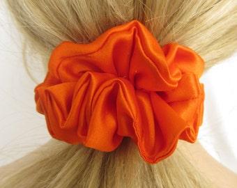 Orange Satin Scrunchie - #115 - is Gentle Hair Elastic