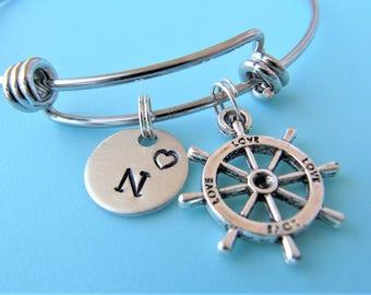 Ship Wheel Bracelet, Ship Wheel Charm Bangle, Personalize Initial Bracelet, Ship Wheel Jewelry, Nautical Jewelry, Ship Steering Wheel Bangle