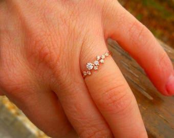 Dainty Diamond Ring-14K Gold Diamond Ring-Gold Ring-Diamond Ring-14K Gold Handmade Diamond Ring