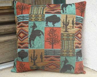 Southwest Cowboy Pillow Cover, 16 x 16 to 24 x 24. Hardwearing upholstery fabric. Handmade in Taos NM