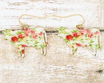Cow Earrings Floral