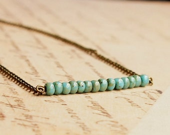 Turquoise Blue And Bronze Necklace, Seed Bead Bar Necklace, Beaded Bar Necklace, Dainty Necklace, Simple Necklace, Minimalist Bead Necklace