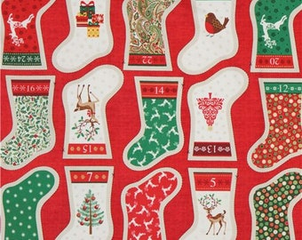216161 fabric with stocking advent gold color makower uk Traditional Metallic Christmas