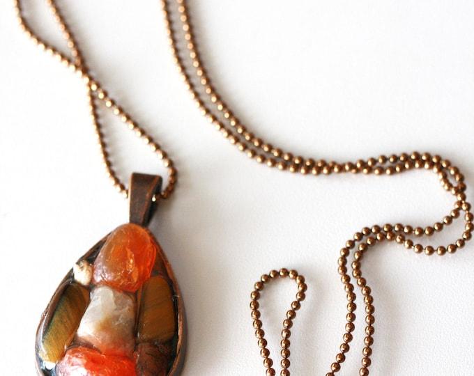 Rustic Tiger Eye and Carnelian Gemstone Copper Teardrop Pendant Necklace, Brown and Orange Gemstone Pendant Necklace, Rustic Mosaic Necklace