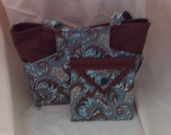 Brown and Blue Shoulder Bag