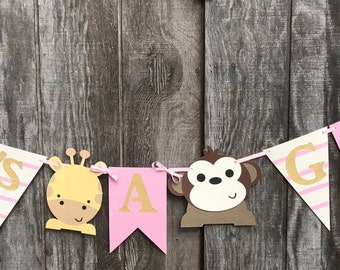 Safari Baby Shower Banner, Baby Girl shower, Jungle birthday Banner, Jungle themed party decorations