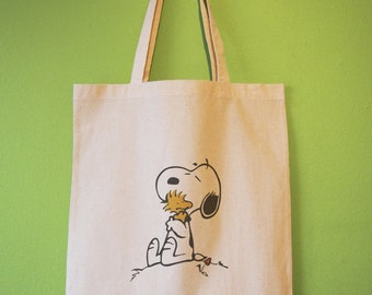 Snoopy and Woodstock Hugging Retro Natural Cotton Tote Bag or Maxi Bag