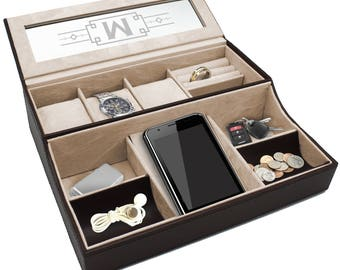 Leather Catchall, Mens Dresser Organizer, Personalized Valet Tray, Custom Valet Box, Mens Dresser Tray, Monogrammed Valet Box, Catch All