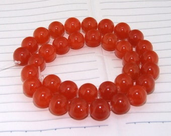 """strand Round Orange Jade Beads ----- 12mm ----- about 32Pieces ----- gemstone beads--- 15"""" in length"""