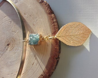 Gold plated Leaf And Aqua Drussy Necklace