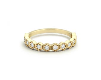 Unique Diamond Wedding Band in 14k Gold / Hexagon Diamond Wedding Ring / Honeycomb Diamond Ring / Anniversary Gift / Mothers Day Gift