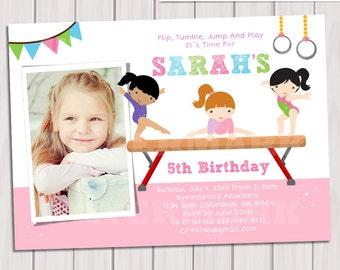 Gymnastic Birthday Party Photo Invitation, Printable GYMNASTIC invitation, Gymnastic Invite, Gymnastic Party, DIY PDF, Photo invite