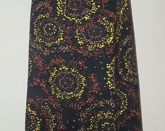 Ladies Size UK 8 10 Vintage 1970's Black Orange Yellow Swirl Print Boho Hippie Skirt