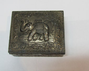 1930s Japanese silverplate wood-lined repousse cigarette box