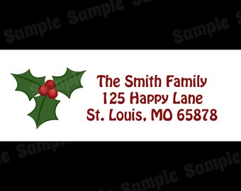 30 Personalized Christmas Return Address Labels  - Holly Design