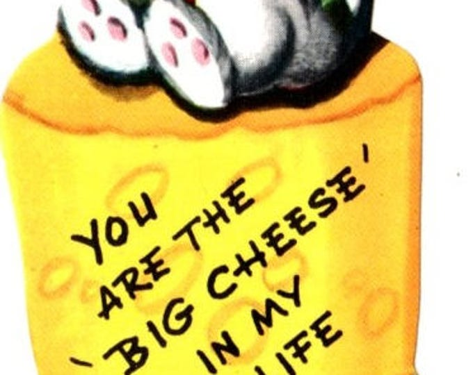 Vintage Mouse You Are The Big Cheese In My Life Valentine Die-Cut Children's Classroom Valentine's Day Card UNUSED