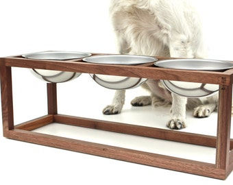 Modern Wood Dog Feeder - Triple