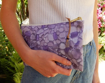 Purple Sea Glass Print Accessory Bag with Lavender Seaglass Zipper Pull - Custom Seaglass Fabric Pouch for Phone, Pens, Makeup, Keys