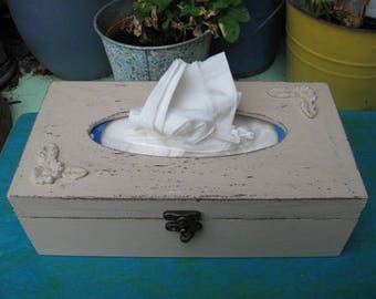Beige Tissue box, Shabby Chic wooden tissue box cover, napkin storage box,